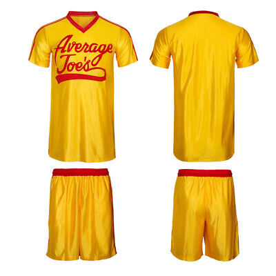 Dodgeball Average Comedy Movie  Joes Adult Yellow Sports Jersey Costume Set