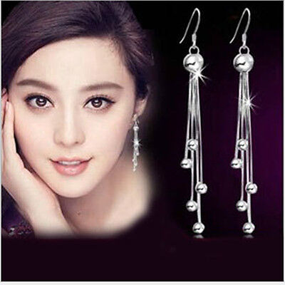 Silver Ball Drop - silver Ball Charm Long Tassels Chain Drop Dangle Party Eardrop Earrings hs05