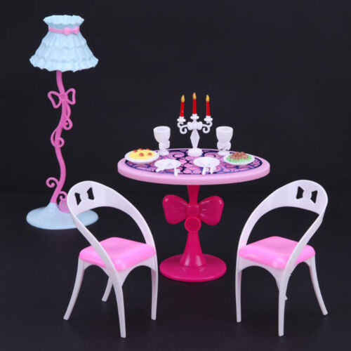 Dining Room Chairs Table Accessories Set Dinner Date Night For Barbie Dolls UK