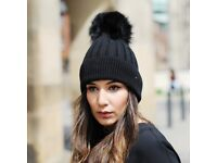 DAYMISFURRY--Black Wool Beanie Hat With Raccoon Fur Pom Pom In Black