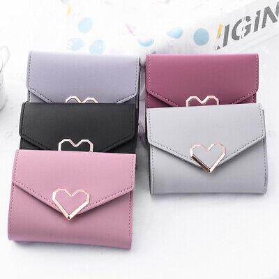 Cute Heart Wallet Short Women ID/Credit Card Holder Clutch Purse Zipper Bag US Heart Card Holder