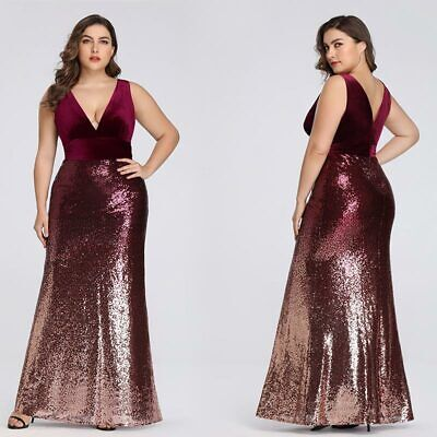Ever-Pretty US Plus Size Ladies Sequins Prom V-neck Burgundy Party Dresses 07767