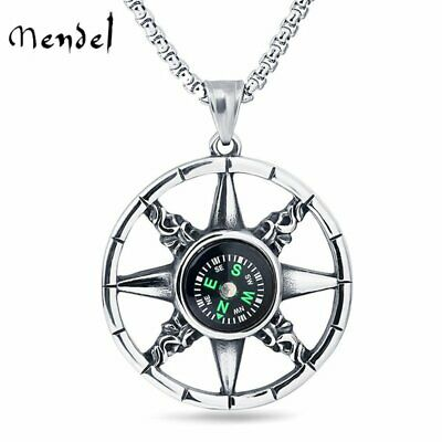 MENDEL Vintage Mens Working Nautical Compass Necklace Pendant Stainless Steel - Nautical Jewelry