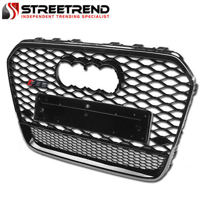 For 12-15 Audi A6 C7 RS Style Honeycomb Mesh Front Bumper Grille - Black/Chrome