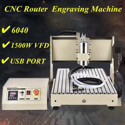 4axis 1.5kw Vfd Usb 6040 Cnc Router Engraver Metal Cut Drill Milling Machine Set