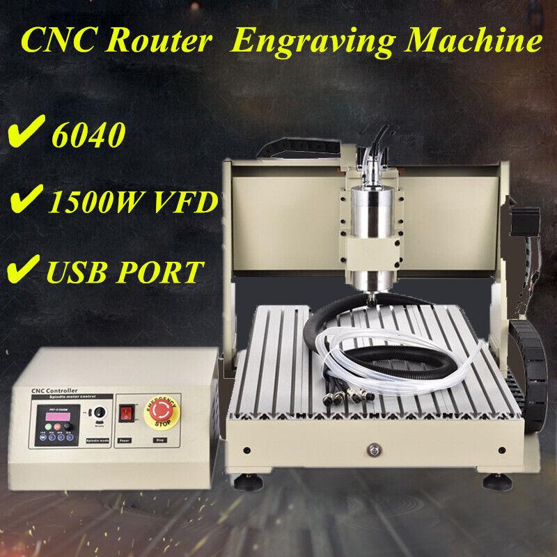 CNC Router 6040 4 Axis Ball Screw Metal Engraving Machine Gantry Axis USB 1.5KW