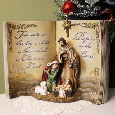 Nativity Set Christmas Statue Nestled in Bible For Unto Us A Child Is Born 12 in](Nativity Sets For Christmas)