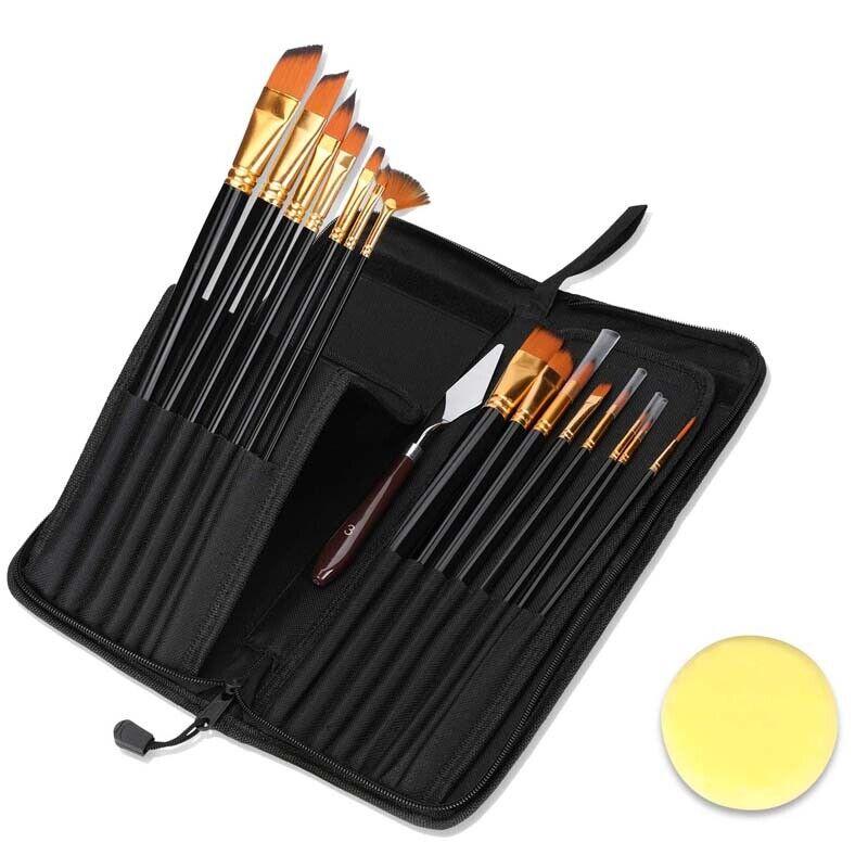 15PCS Pro Artist Painting Brushes Acrylic Oil Watercolor Paint Brushes Set US