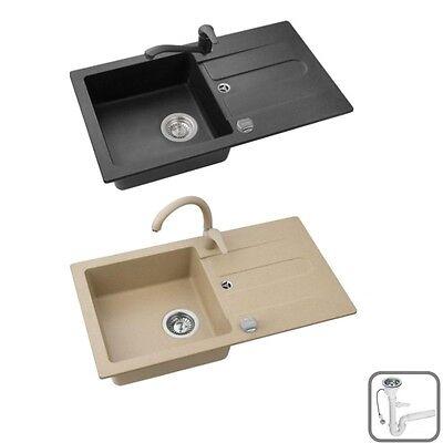 Spüle Spülbecken JUMP20 Granit Küche 75x42 Schwarz Beige Armatur SWAN oder LOW - Swan Küche