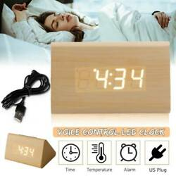 Modern Digital LED Alarm Clock Thermometer Wooden Desk Alarm Triangular NEW SS