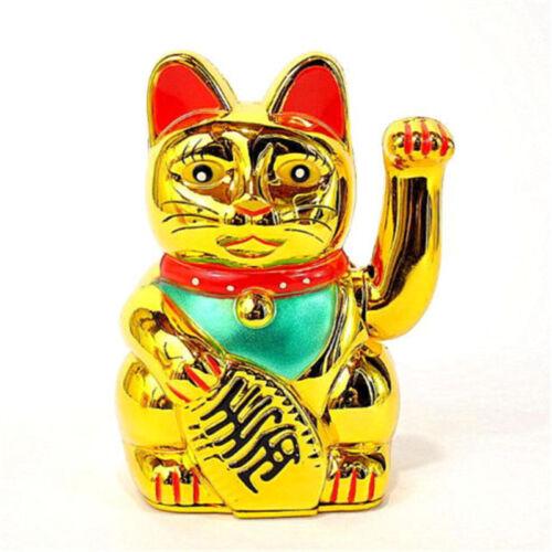 "5"" Japanese Lucky Beckoning Cat Gold Wealth Waving Kitty Maneki Neko FengShui ♫"