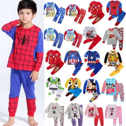 Spiderman Mickey Minnie Kids Toddler Baby Boy Girls Nightwea