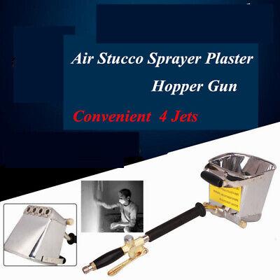 4 Jet Cement Mortar Spray Gun Hopper Stucco Plaster Paint Wall Ceiling Tool