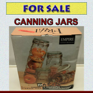 NEW NEVER OPENED - 4 AIRTIGHT CANNING / STORAGE JARS
