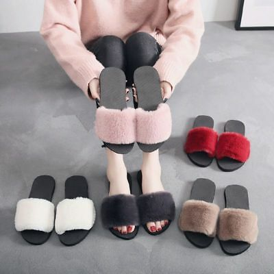Winter Women's Faux Fur Slippers Warm Soft Plush Indoor Coup