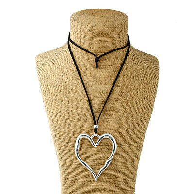 Abstract Heart Necklace - Long Suede Necklace Lagenlook Statement Abstract Alloy Metal Large Heart Pendant