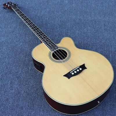 Electric Acoustic Bass Guitar 4/5 String Natural Color 43 Inch 24 Frets With EQ