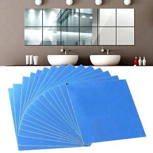 16pcs miroirs carreaux mosa que adh sif autocollant mural d coration carr diy. Black Bedroom Furniture Sets. Home Design Ideas