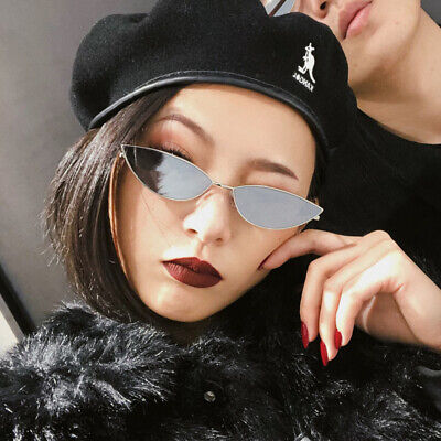Vintage Small Cat Eyes Sunglasses Women Retro UV400 Narrow Frame Eyewear (Glass Cat Eyes)