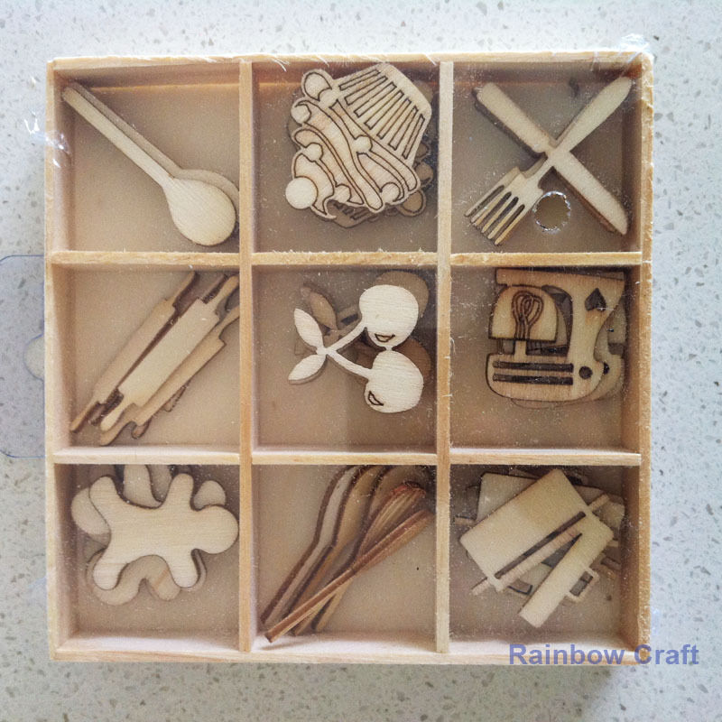 Kaisercraft Wooden Flourish packs / storage box 74 selections - Cooking