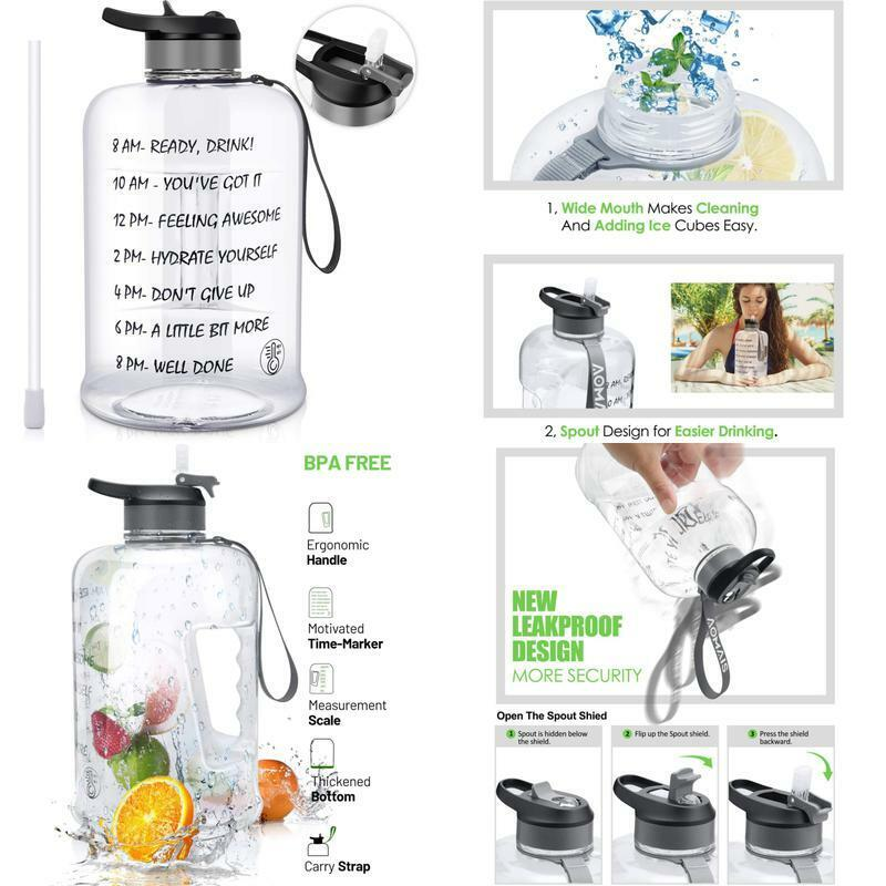 Motivational Gallon Water Bottle With Time Marker Straw Big