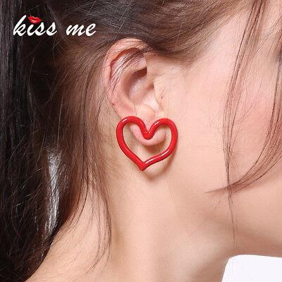 Women Earrings 925 Silver Post Simple Enamel Red Heart Stud Earrings ed01234c