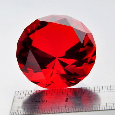 40mm Red Artificial Diamond Shaped Crystal Glass Art Ornament DIY Gift Stone