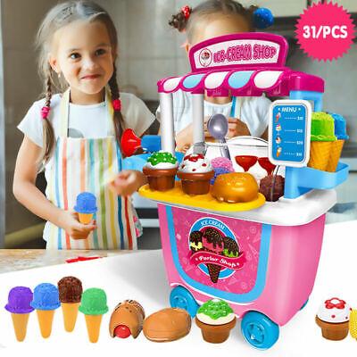 31Pcs Pretend Role Play Kids ICE Cream Food Shop Cart Set Carrycase Toys Gift US - Kids Ice Cream Cart