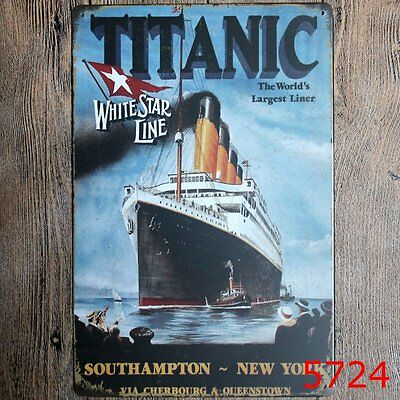 Metal Tin Sign titanic white star line Bar Pub Vintage Retro Poster Cafe ART