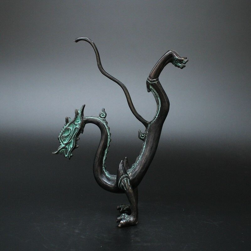 Rare Collection Chinese Folk Old Bronze Handwork Dragon Statue