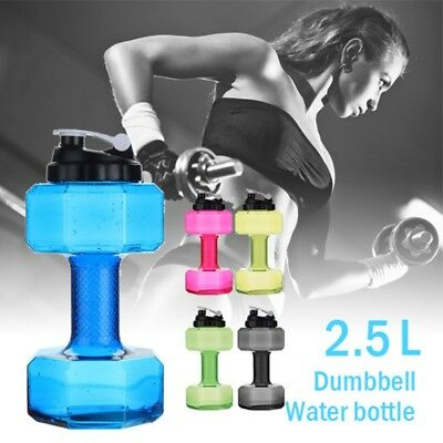 Dumbbell Shaped Sport Water Drinking Cup Kettle Fit Drink Gym Bottle 2.5L US