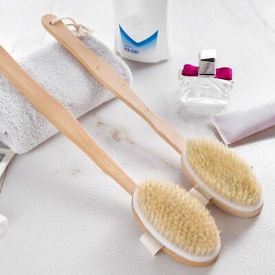 Long Handle 2 In 1 Spa Natural Bristle Wooden Bath Shower Brush Back Scrubber US