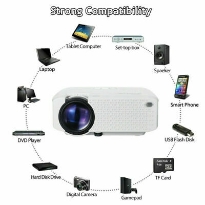 Mini LED Wifi Full HD 1080P 3D Projector Mini Portable Smart Home Cinema USB UK