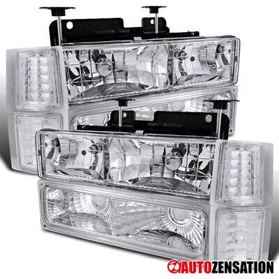 For 94-98 Chevy Silverado Tahoe Suburban Clear Headlights w/ Corner+Bumper Lamps