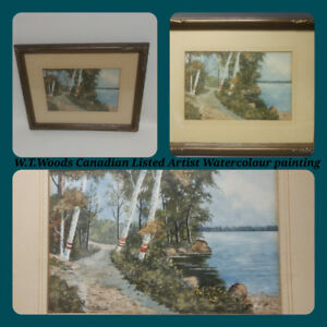 Watercolour Canadian listed Artist W.T. Woods. Original. Signed