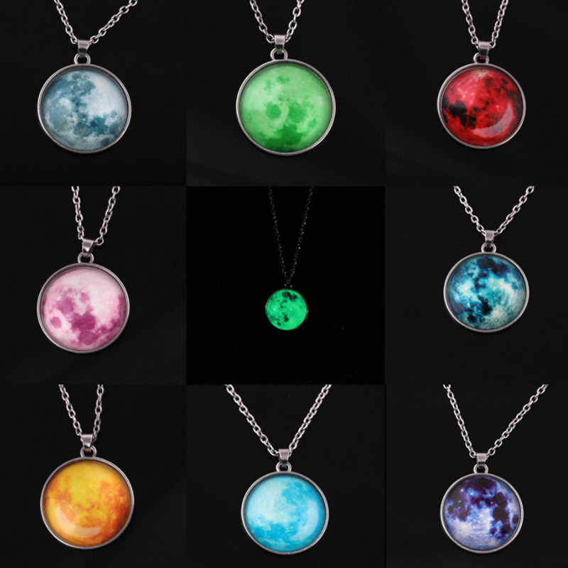 Novelty Glow In The Dark Luminous Necklace Chain Fluorescent Rising Moon Pendant