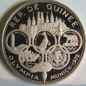 1969 Guinea, 500 Francs Olympic Silver coin