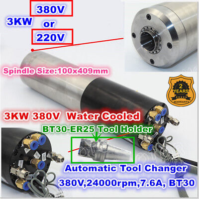 3kw Bt30 380v Atc Tool Change Automatic Water Spindle Motor 24000rpmtool Holder