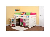 Stompa children's mid sleeper with drawers and shelves