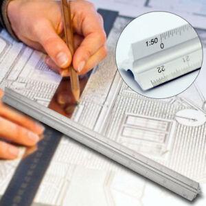 300mm Triangular Aluminium Tri Scale Metal Ruler Architect Engineers Rule 12 HOT