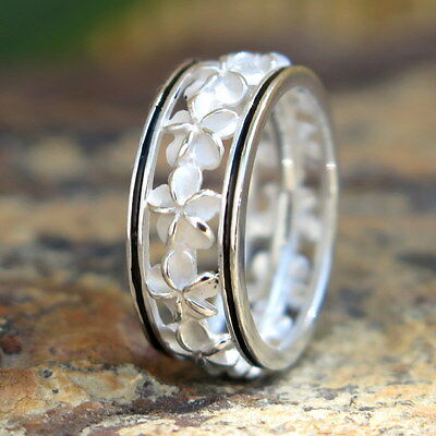 (Hawaiian Silver Black Border Plumeria Flower Lei Wedding Ring Band 6mm SR2191)