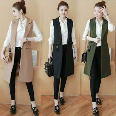 Women Sleeveless Waterfall Cape Lapel Long Cardigan Jacket Coat Waistcoat Vest - Womens Capes
