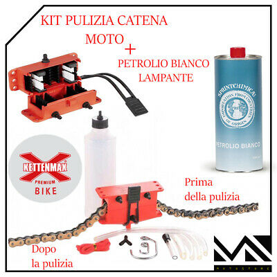 Set Limpiar Limpieza Cadena Moto Profesional Kettenmax + Petróleo Blanco 1LT