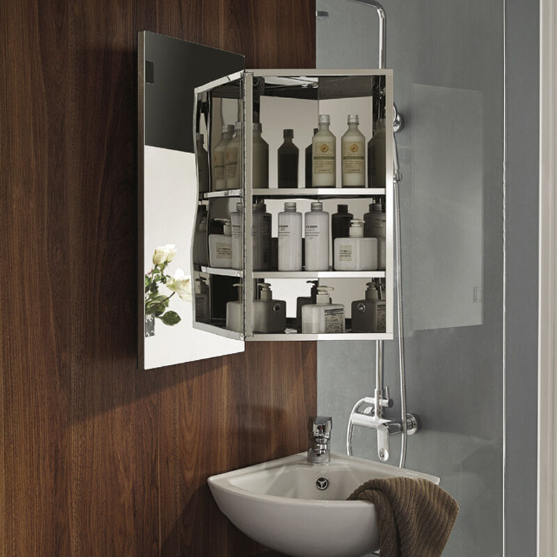 Luxury Stainless Steel Wall Corner Mirror Storage Cupboard Bathroom Cabinet Ebay