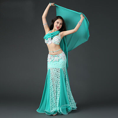 Professional Belly Dancing Costumes (2018 Professional Belly Dancing Costumes Set Performance Diamond 2PCS Bra)