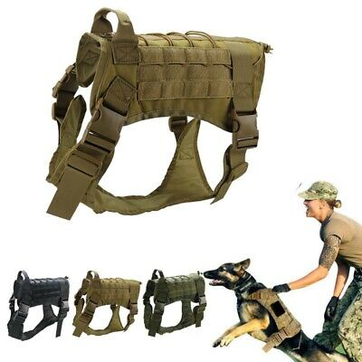 Large Dog Tactical Training Harness Military Police-Adjustable Molle Vest