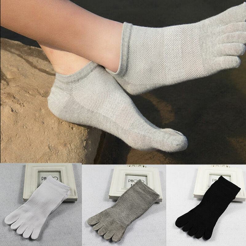 3 Pairs Mens Cotton Toe Five Finger Socks Ankle Sports Breat