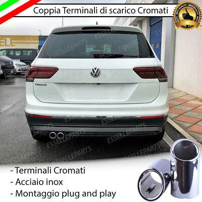 COPPIA TERMINALE SCARICO CROMATO LUCIDO ACCAIO INOX VOLKSWAGEN TIGUAN MK2 DOPPIO usato  Napoli