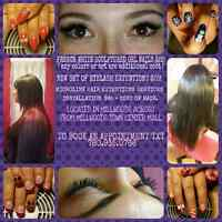 Sculptured gel nails,eyelash extentions,hair extentions services