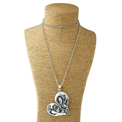 Abstract Heart Necklace - Silver Lagenlook Large Abstract Alloy Peace Heart Pendant Long Chain Necklace